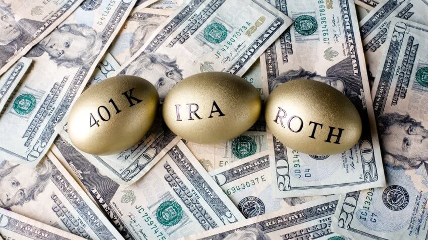 golden eggs with 401k ira and roth painted on them