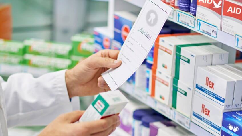 pharmacist filling a prescription