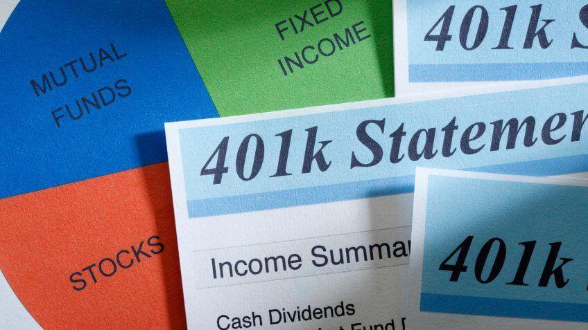 close up of 401k statement
