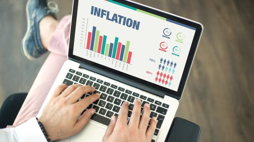 close up of inflation graph on laptop