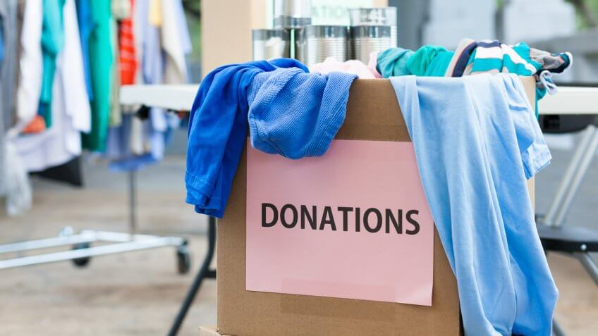 Box of donations at a donation center.