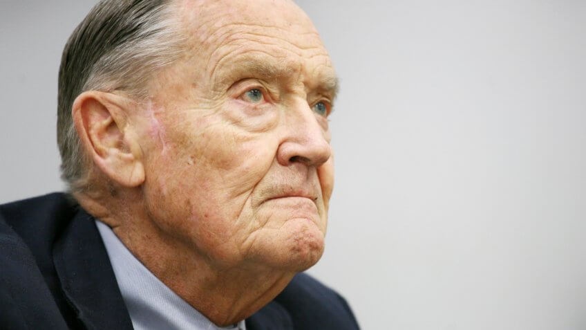 John Bogle, founder of The Vanguard Group, listens during an interview at The Associated Press on in New YorkVANGUARD, NEW YORK, USA.