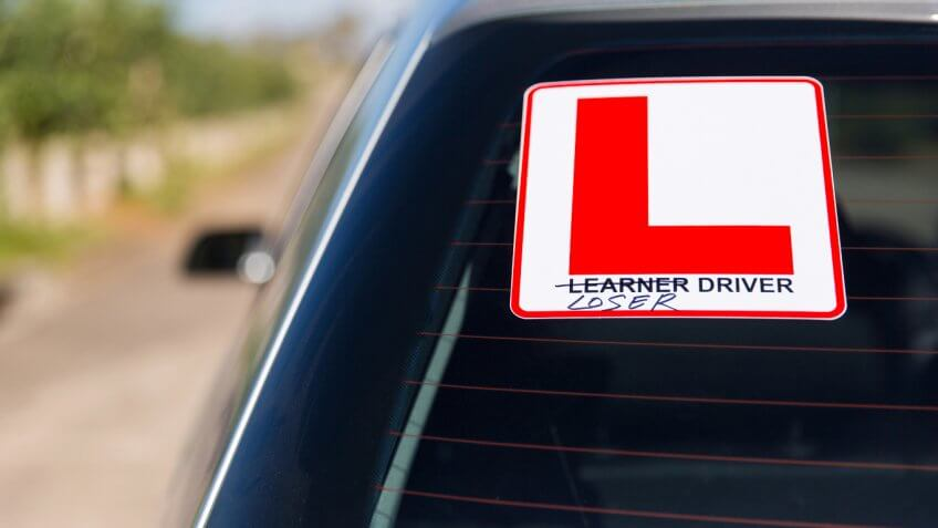 learner loser driver sticker on the back of a car