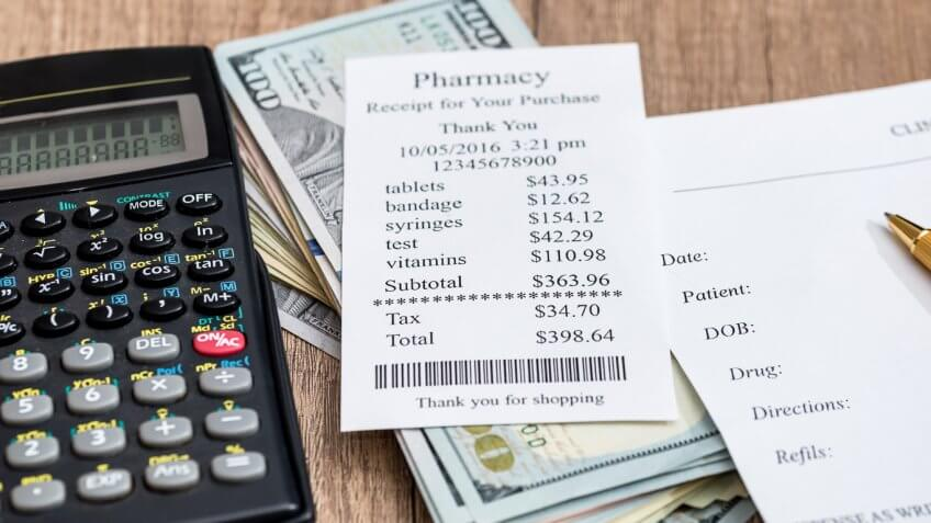 pharmacy receipt and calculator