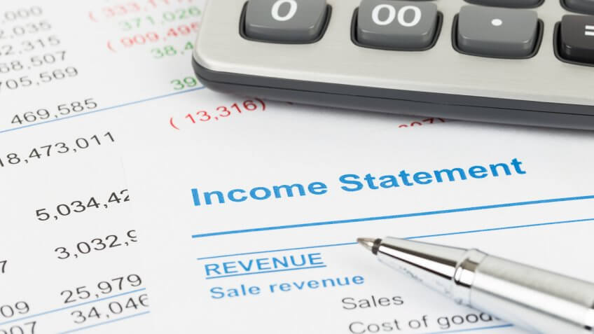 calculator next to income statement document
