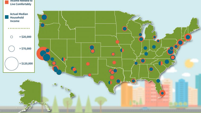 How Much Money You Need To Live Comfortably In The Biggest - Us big cities map