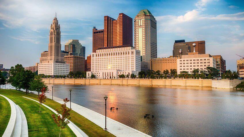 Columbus - Ohio, Ohio, Urban Skyline, Cityscape, River.