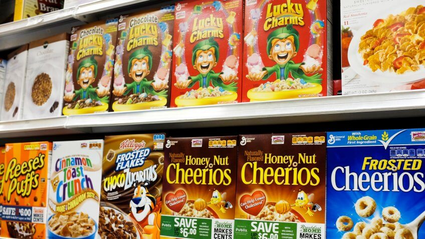 MIAMI, FL - SEPTEMBER 23:  General Mills cereal products are displayed on a store shelf on September 23, 2014 in Miami, Florida.
