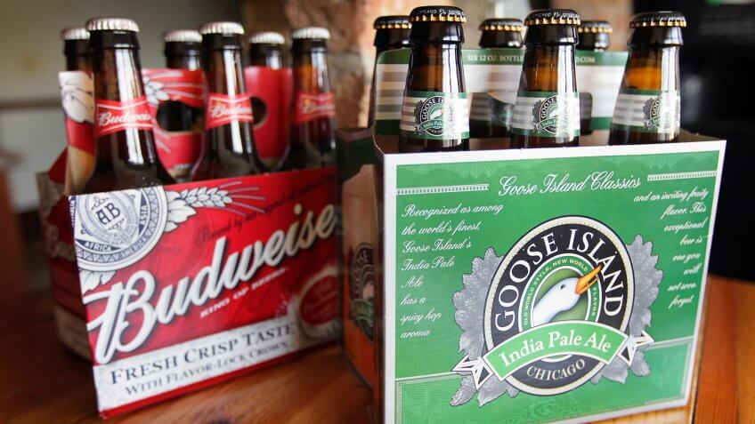 CHICAGO, IL - MARCH 29:  In this photo illustration, Goose Island's India Pale Ale is pictured with Budweiser beer on March 29, 2011 in Chicago, Illinois.