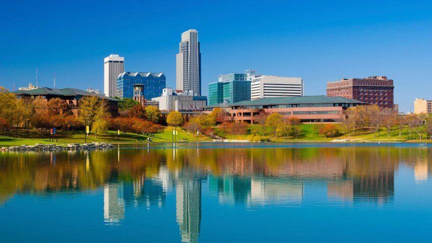 Omaha, Nebraska, Urban Skyline, City, Midwest USA.