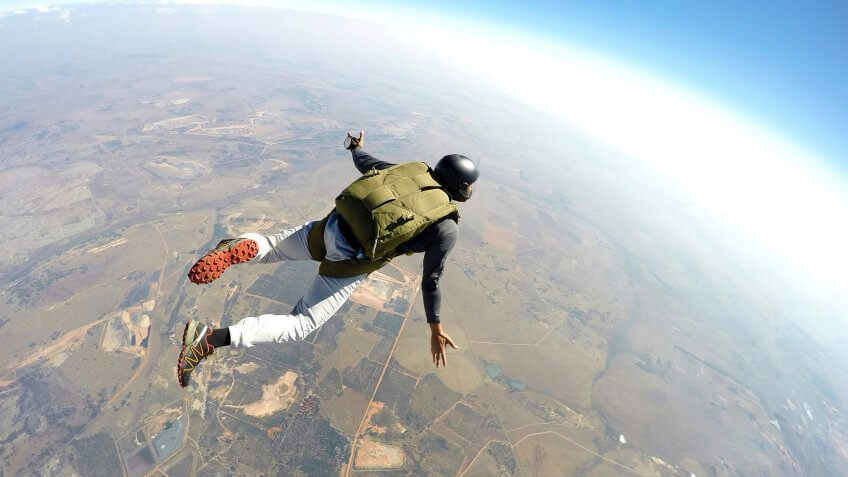 Free Falling, Parachuting, Skydiver in action - Stock imageSkydiving, Sport, falling