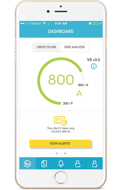 TransUnion Mobile credit dashboard