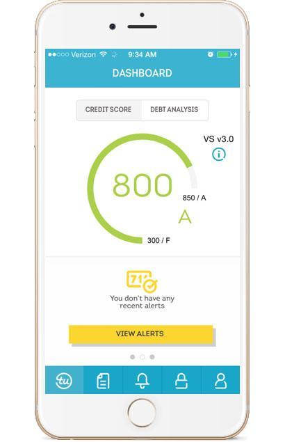 TransUnion Mobile credit dashboard