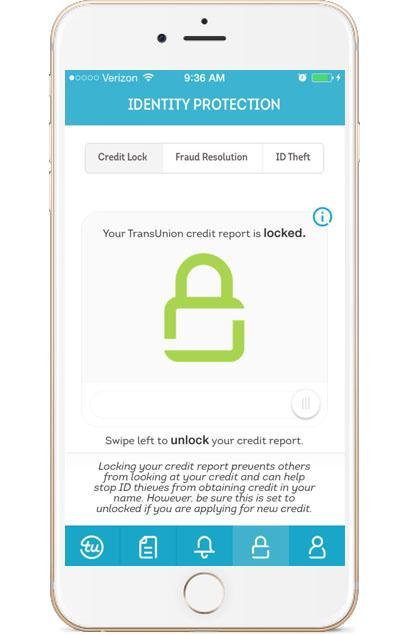TransUnion Mobile credit lock