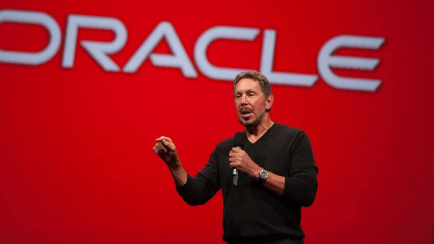 SAN FRANCISCO, CA - SEPTEMBER 28:  Oracle Executive Chairman of the Board and Chief Technology Officer, Larry Ellison, delivers a keynote address during the 2014 Oracle Open World conference on September 28, 2014 in San Francisco, California.