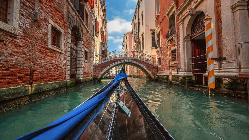 Europe, Venice - Italy, Venice - Stock imageFamous Place, View from gondola during the ride through the canals, italy, travel