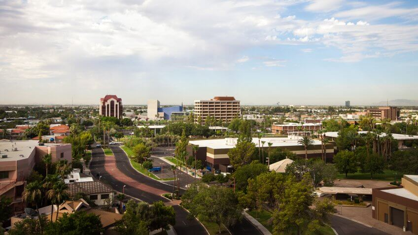 View from top floor of a high rise in Mesa Arizona.