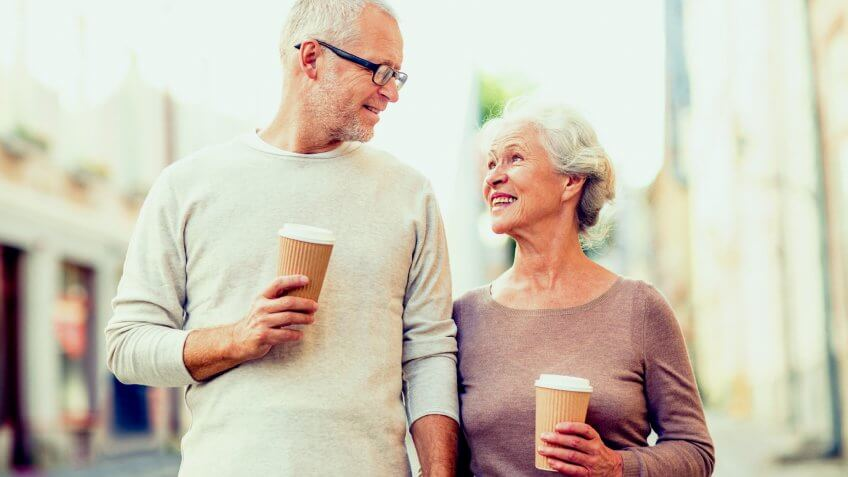 older couple getting coffee