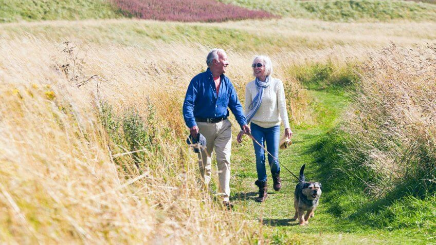 elderly couple taking their dog on a walk