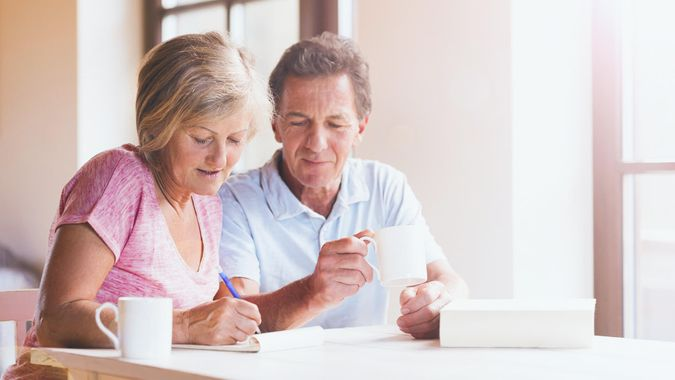 couple having coffee and discussing retirement planning