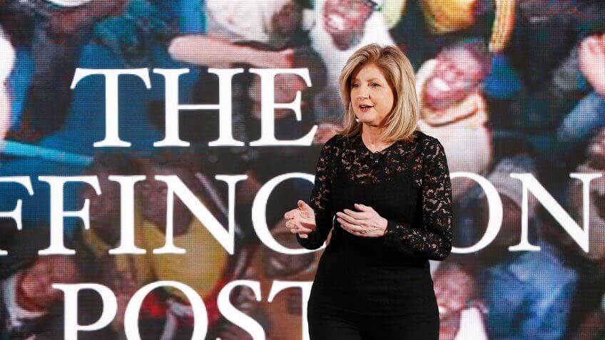 NEW YORK, NY - APRIL 28:  Co-founder and editor-in-chief of The Huffington Post Arianna Huffington speaks on stage during the AOL 2015 Newfront on April 28, 2015 in New York City.