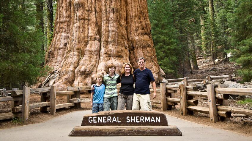 family smiling in front of general sherman