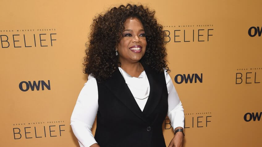 "NEW YORK, NY - OCTOBER 14:  Oprah Winfrey speaks at the ""Belief"" New York premiere at TheTimesCenter on October 14, 2015 in New York City."