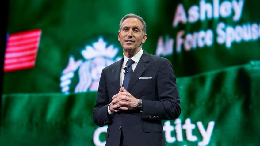SEATTLE, WA - MARCH 22: CEO Howard Schultz speaks during the Starbucks annual meeting of shareholders on March 22, 2017 in Seattle, Washington.