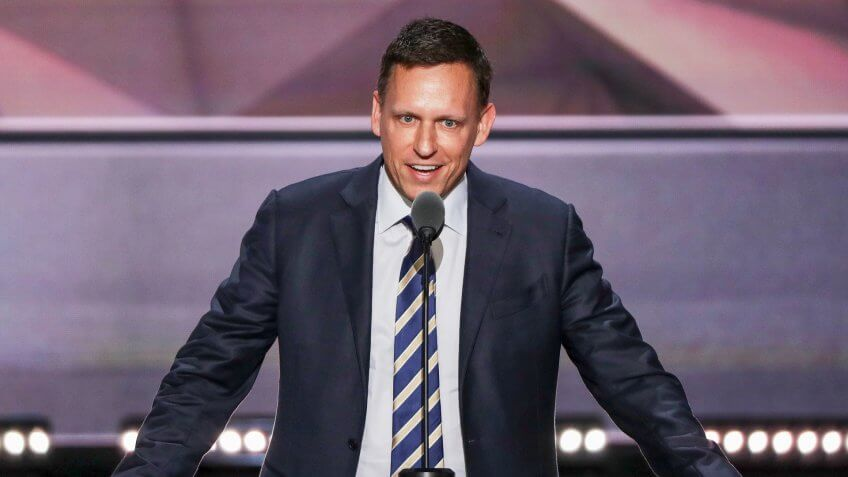 CLEVELAND, OH - JULY 21:  Peter Thiel, co-founder of PayPal,  delivers a speech during the evening session on the fourth day of the Republican National Convention on July 21, 2016 at the Quicken Loans Arena in Cleveland, Ohio.