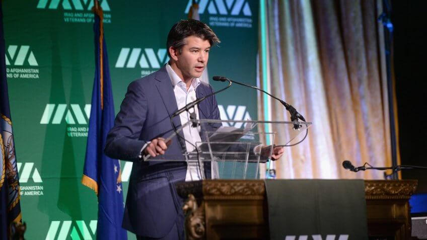 NEW YORK, NY - NOVEMBER 13:  Co-founder & CEO of Uber, Travis Kalanick speaks onstage at IAVA Heroes Gala - 10th Anniversary on November 13, 2014 in New York City.