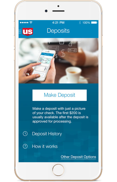 U.S. Bank mobile app - Deposits