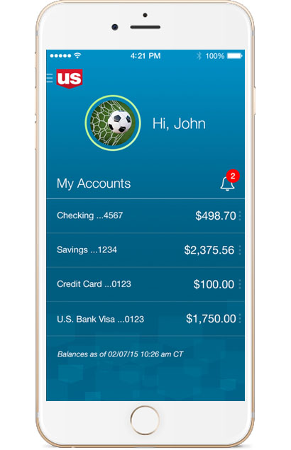 U.S. Bank mobile app - Accounts