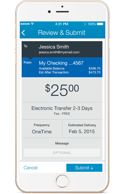 U.S. Bank mobile app - Transfers