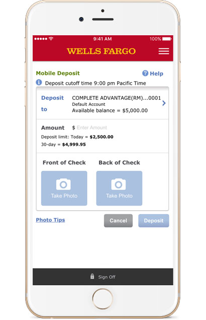 Wells Fargo Mobile Deposits