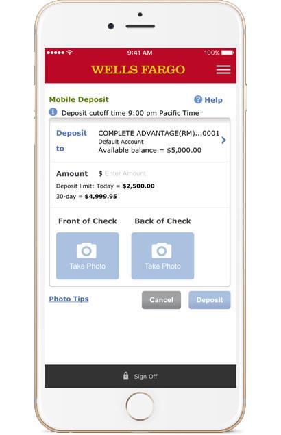Wells Fargo Mobile Deposits
