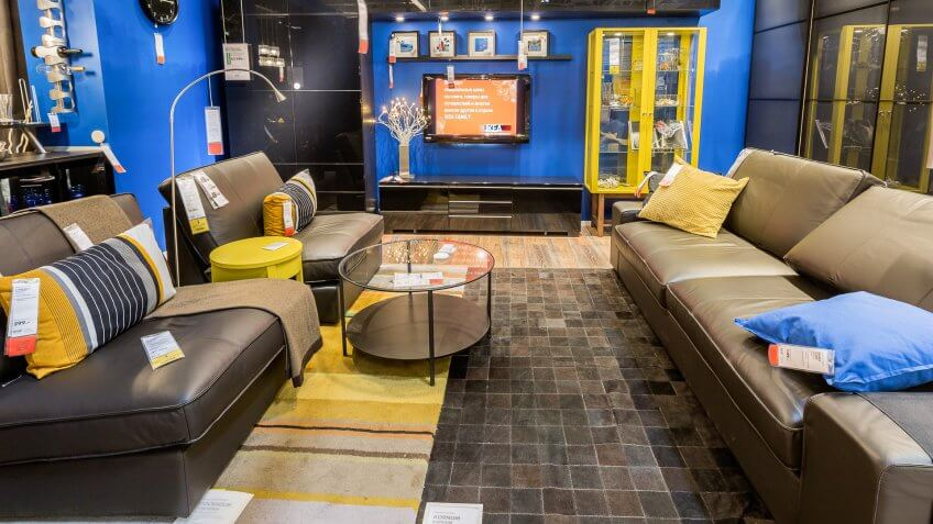 2015: A sample of the interior in IKEA store, IKEA to have large chain stores around the world, RUSSIA - JULY 20, SAMARA, Samara. IKEA was founded in of Sweden in 1943, What $100 Was Worth in the Decade You Were Born