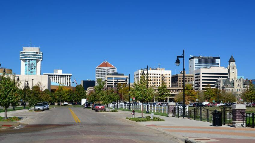 Wichita, Kansas skyline view from a street.