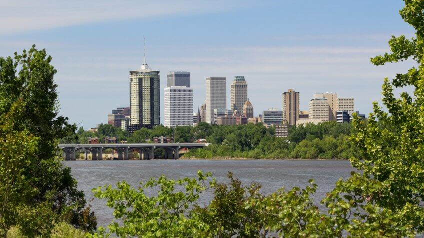 """The Tulsa skyline, viewed from the west bank of the Arkansas River."