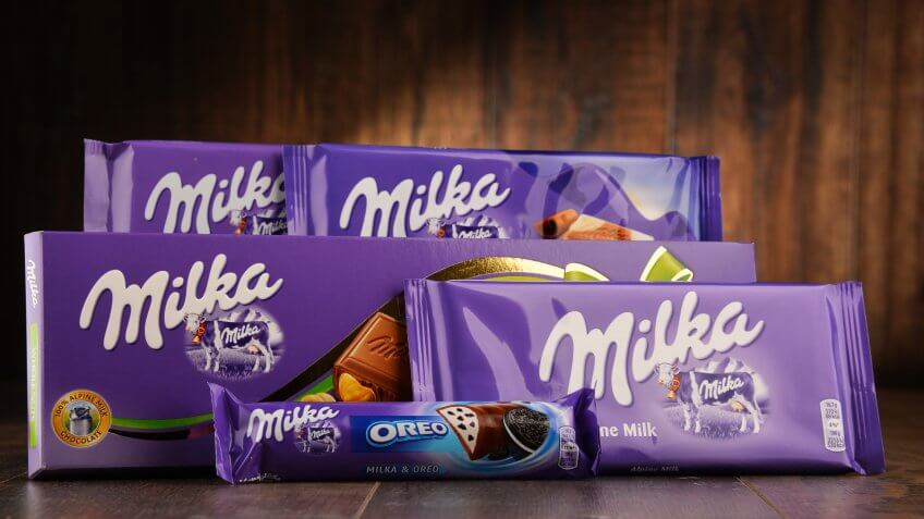 POZNAN, POLAND - OCT 13, 2016: Milka is a brand of chocolate confection which originated in Switzerland in 1825 and has been manufactured by the Mondelez Int.