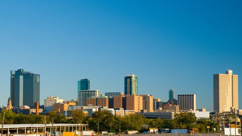 Fort Worth Downtown skyline view.