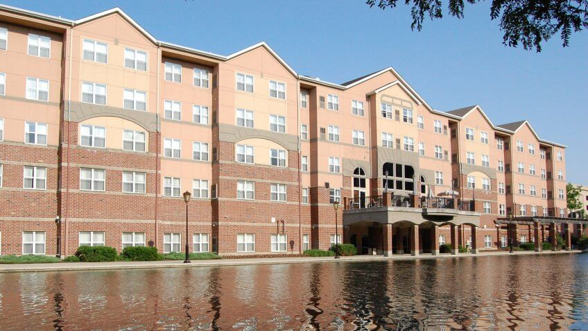 Indianapolis, Indiana - New condominiums overlooking a canal.