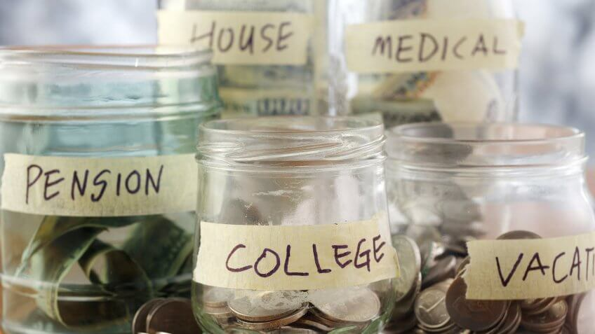 jars with coins for pension college vacation