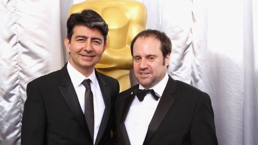 HOLLYWOOD, CA - FEBRUARY 28:  Founder of eBay Pierre Omidyar (L) and producer Jeffrey Skoll attend the 88th Annual Academy Awards at Hollywood & Highland Center on February 28, 2016 in Hollywood, California.