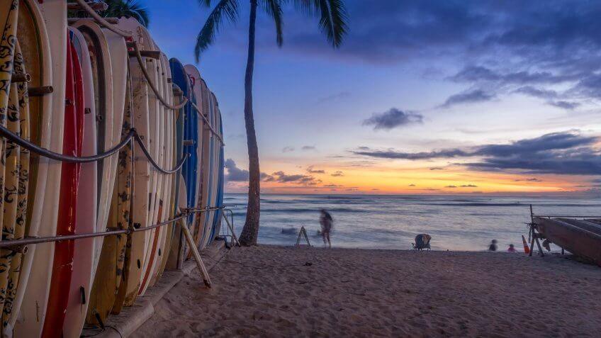 Hawaii sunset palm trees ocean surfboards