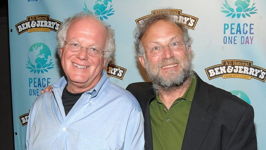 NEW YORK - SEPTEMBER 21:  Ben Cohen and Jerry Greenfield co-founders of Ben & Jerry's at Ben & Jerry's attend Ben & Jerry's 10th Anniversay Celebration Of Peace Day at The Box on September 21, 2009 in New York City.