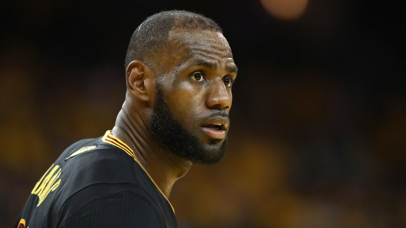 OAKLAND, CA - JUNE 12:  LeBron James #23 of the Cleveland Cavaliers reacts against the Golden State Warriors in Game 5 of the 2017 NBA Finals at ORACLE Arena on June 12, 2017 in Oakland, California.
