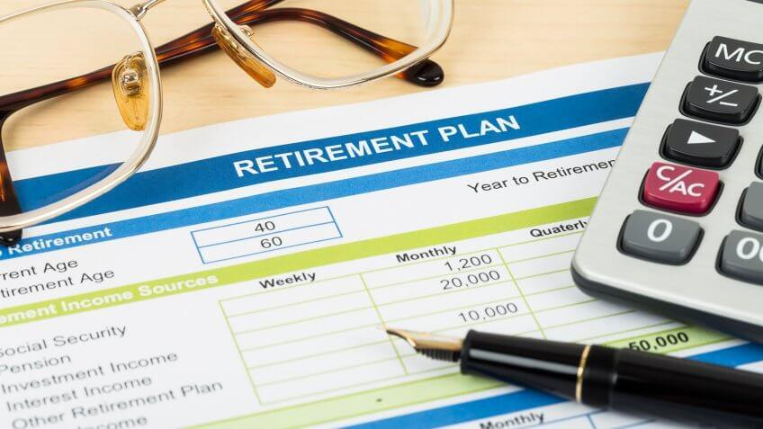 close up of a retirement plan document