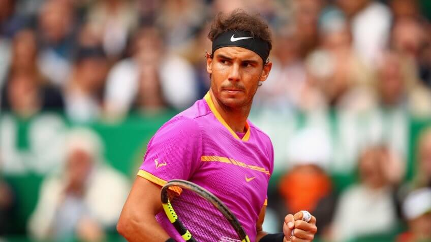MONTE-CARLO, MONACO - APRIL 23:  Rafael Nadal of Spain celebrates a point against Albert Ramos-Vinolas of Spain in the final on day eight of the Monte Carlo Rolex Masters at Monte-Carlo Sporting Club on April 23, 2017 in Monte-Carlo, Monaco.