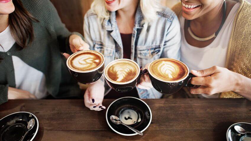 Women Friends Enjoyment Coffee Times Concept.