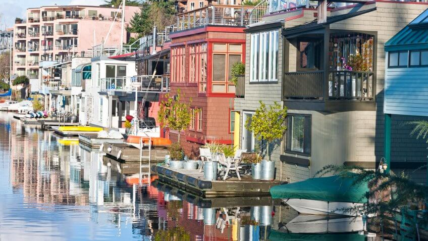 Houseboats line the shore in Seattle at Lake Union.